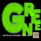 Alphabet Letters Clipart: Neon Glow Green (Uppercase A-Z)