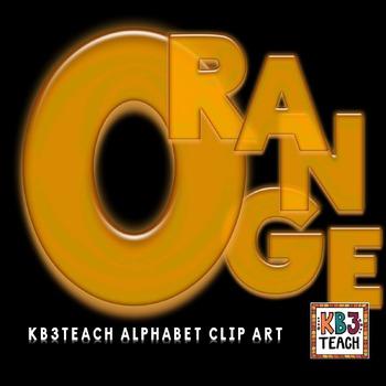 Alphabet Letters Clipart: Neon Glow Orange (Uppercase A-Z)