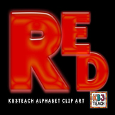 Alphabet Letters Clipart: Neon Glow Red (Uppercase A-Z)