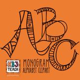 Alphabet Letters Clipart: Monogram Design Art (Uppercase A-Z)