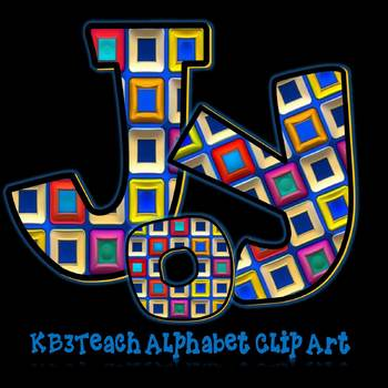 Alphabet Letters Clipart: Abstract Designs (Uppercase/Lowercase A-Z)