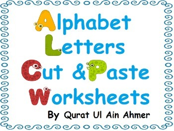 Alphabet Letters Cut and Paste Activity Worksheets: