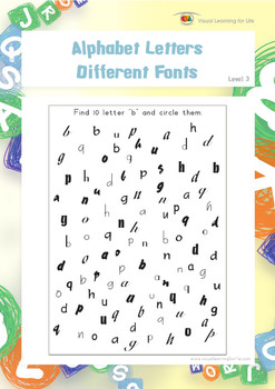 Alphabet Letters-Different Fonts (Visual Perception Worksheets)