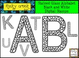Alphabet Letters Digital Stamps Stained Glass Style Clip Art !
