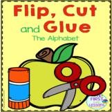 Alphabet Letters Flip Cut and Glue Apple Themed