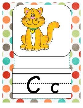Alphabet Letters Multi Polka Dot Decor