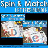 Alphabet Letters Pattern Blocks Mat Spin and Match Game Bundle