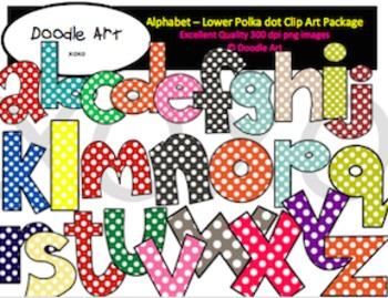 Alphabet Letters - Polka dot Lowercase Clipart Pack