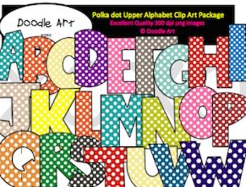 Alphabet Letters - Polka dot Uppercase Clipart Pack