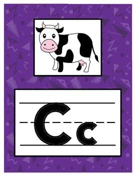 Alphabet Letters Signs Teal Purple