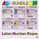 Alphabet Upper and Lower Case Numbers 2D and 3D Shapes  Play dough Mats BUNDLE