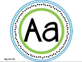 Alphabet Letters Upper and Lower Case- Blue and Green
