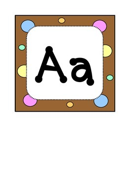 Alphabet Letters - Word Wall Headers - Dots & Pastel, Chocolate Brown Theme