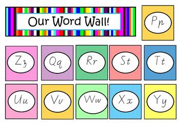Alphabet Letters Word Wall Vic Modern Cursive Font