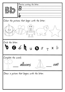 Alphabet Letters and Sounds Booklet