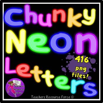 Thick Neon Alphabet Letters Clip Art