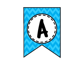 Alphabet Letters for Banners: Blue Chevron