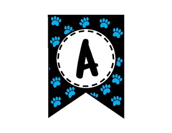 Alphabet Letters for Banners: Blue Paw Print
