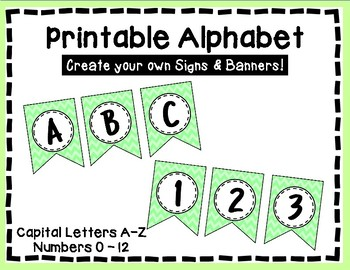Alphabet Letters for Banners: Green Chevron