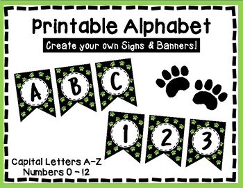 Alphabet Letters for Banners: Green Paw Print