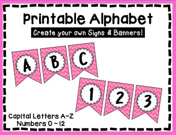 Alphabet Letters for Banners: Pink Chevron
