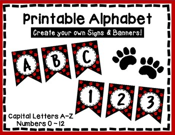 Alphabet Letters for Banners: Red Paw Print