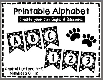 Alphabet Letters for Banners: White Paw Print