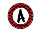 Alphabet Letters for Banners: Circle Red & Black Chevron