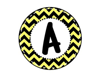 Alphabet Letters for Banners: Circle Yellow Chevron