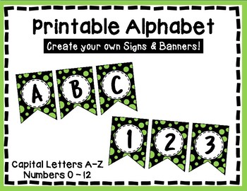 Alphabet Letters for Banners: Green & Black