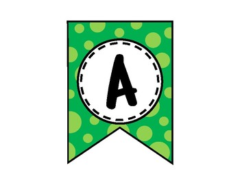 Alphabet Letters for Banners: Green Dot
