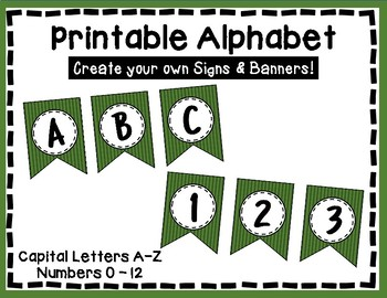 Alphabet Letters for Banners: Green Stripe
