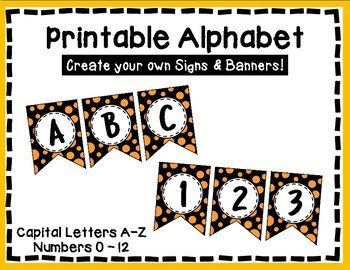Alphabet Letters for Banners: Orange & Black