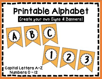 Alphabet Letters for Banners: Orange Stripe