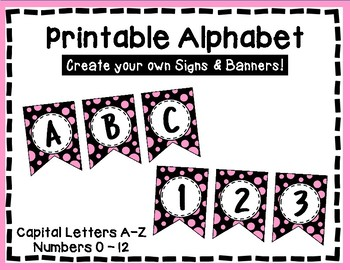Alphabet Letters for Banners: Pink & Black