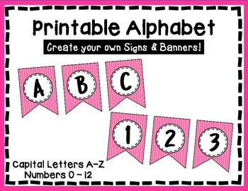 Alphabet Letters for Banners: Pink Stripe