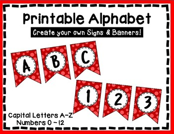 Alphabet Letters for Banners: Red