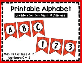 Alphabet Letters for Banners: Red Stripe