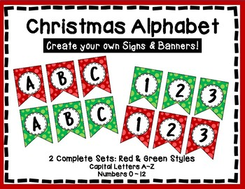 Alphabet Letters for Banners: Red and Green, Christmas Banners