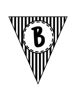 Alphabet Letters for Banners: Triangle Black & White