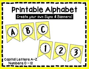 Alphabet Letters for Banners: Yellow