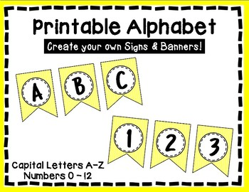 Alphabet Letters for Banners: Yellow Stripe