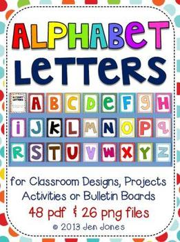 Alphabet Letters for Classroom Bulletin Boards, Projects & Word Work Activities