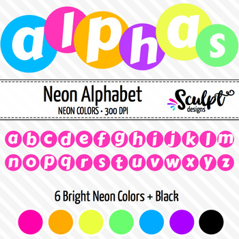 Alphabet ~ Letters in Circles ~ Neon Colors