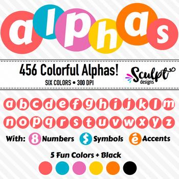 Colorful Alphabet ~ Letters, Numbers, Symbols ~ Twenty Col