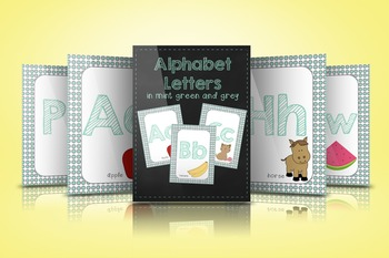 Alphabet Letters in Mint Green and Grey
