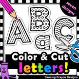 Alphabet Letters with Cutting Lines - Alphabet Cut and Paste Clip Art BUNDLE