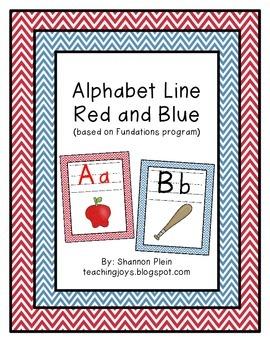 Alphabet Line: Red Vowels, Blue Consonants