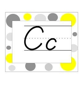 Alphabet Line Yellow and Gray Polka Dots D'Nealian