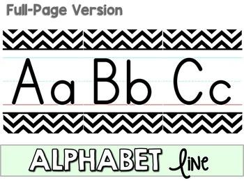 Alphabet Line - Black & White Chevron